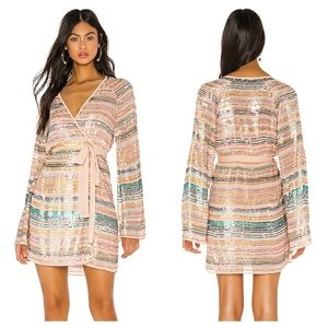 Tularosa Multi Color Sequin Robin Mini Wrap Dress